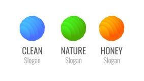商标套五颜六色的球形-蜂蜜农场或商店,自然eco公司和商标清洁服务或机关的 皇族释放例证