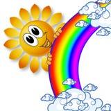 商标彩虹太阳和云彩 免版税图库摄影
