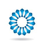 商标抽象蓝色花 免版税库存照片
