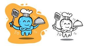 商标海鲜章鱼厨师 库存照片