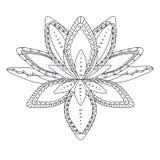 商标的单色风格化装饰莲花,纹身花刺的, machindi的 免版税图库摄影