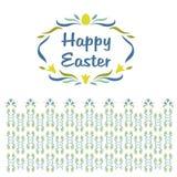 商标,与词复活节快乐的小插图 花卉 免版税库存照片