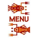 商标,海鲜菜单的几何设计 免版税库存照片