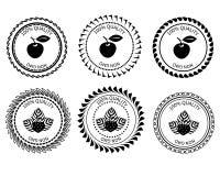 商标黑白色苹果和草莓 免版税图库摄影