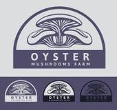 商标Oystern蘑菇:堆温室耕种新鲜的蘑菇 库存例证