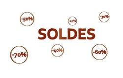 商标Soldes胭脂avec réductions dans des cercles dorés 库存图片
