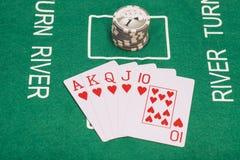 啤牌卡片、同花大顺和赌博娱乐场 库存照片