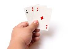 啤牌卡片三张相同的牌一点 免版税库存照片
