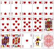 啤牌卡片心脏设置了四种颜色经典设计 免版税库存图片