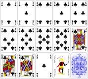 啤牌卡片棍打集合四颜色经典设计 免版税库存图片