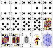 啤牌卡片锹设置了四种颜色经典设计 库存图片