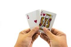 啤牌心脏国王和一点在被隔绝的人的手上 库存照片