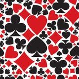 啤牌样式 传染媒介无缝的赌博娱乐场背景或纹理与 库存图片