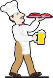 啤酒主厨食物杯子盘 库存图片