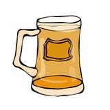 啤酒乱画样式玻璃  隔绝在白色背景,手图画 向量 免版税库存照片