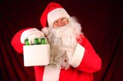 啤酒克劳斯装箱圣诞老人六 免版税库存照片