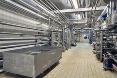 啤酒厂的内部-管子 库存图片