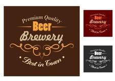 啤酒厂象征或商标在减速火箭的样式 库存图片
