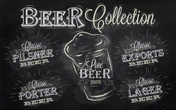 啤酒命名汇集。白垩。 免版税图库摄影