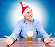 啤酒和圣诞老人 免版税图库摄影