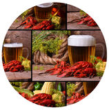 啤酒和小龙虾 库存照片