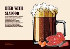 啤酒和海鲜手拉的例证 免版税库存图片