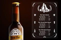 啤酒和酒精的菜单模板 向量 图库摄影