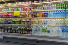 啤酒和酒精饮料的许多类型 免版税库存图片