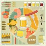 啤酒图标infographics集合快餐葡萄酒 向量例证
