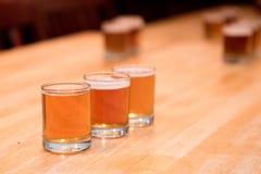 啤酒在啤酒厂的飞行品尝 免版税库存图片