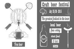 啤酒工艺费斯特两色海报 库存照片
