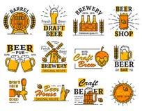 啤酒房子与酒精的酒吧或啤酒厂象喝 皇族释放例证