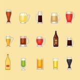 啤酒杯传染媒介集合 免版税库存照片