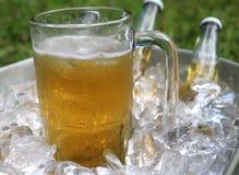 啤酒杯关闭在冰 免版税库存照片