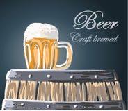 啤酒杯和桶,工艺酿造了,导航,例证 库存照片