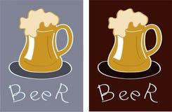 啤酒杯商标 库存例证