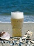 啤酒杯海滨 库存照片