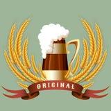 啤酒杯谷物耳朵和横幅 免版税图库摄影