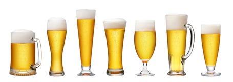 啤酒杯集 免版税库存照片