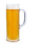 啤酒杯经典低度黄啤酒 在白色背景的刷新的低度黄啤酒 胖老人形啤酒杯 免版税图库摄影