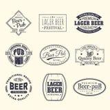 啤酒标签和贴纸、beermat和沿海航船 库存例证