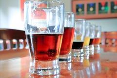 啤酒样品特写镜头连续 图库摄影