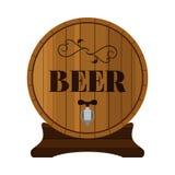 啤酒桶 在平的样式设计的酒精饮料 也corel凹道例证向量 库存照片