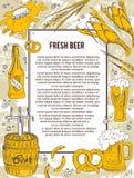 啤酒横幅或飞行物 好作为广告邀请模板  也corel凹道例证向量 库存例证