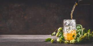 啤酒涌入在黑暗的土气木背景用蛇麻草,正面图,拷贝空间的杯子 免版税库存图片