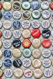 啤酒瓶加盖汇集,上海,中国 免版税库存照片