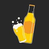 啤酒瓶和玻璃动画片 库存例证