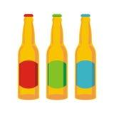 啤酒瓶查出的集 免版税库存照片