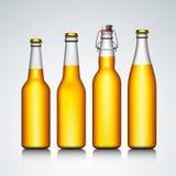 啤酒瓶没有标签的结算集 库存图片