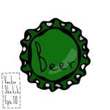 啤酒瓶盖帽 乱画样式剪影 向量 免版税库存照片